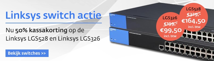 Linksys switches 50% korting