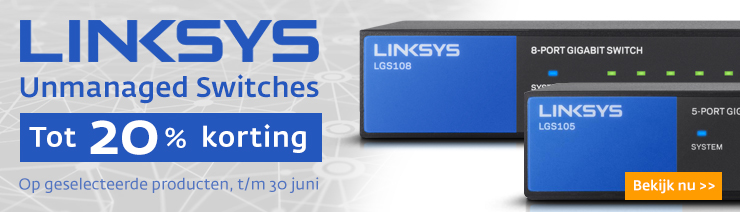 Linksys switches 20% korting
