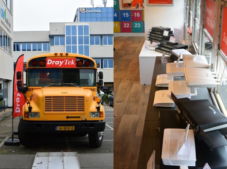 Draytek schoolbus op bezoek bij KommaGo