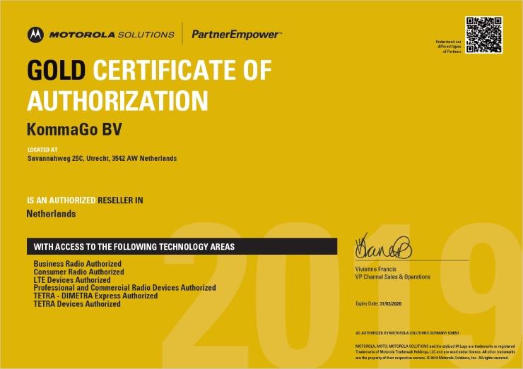 KommaGo certificaat Motorola Solutions Gold partner status