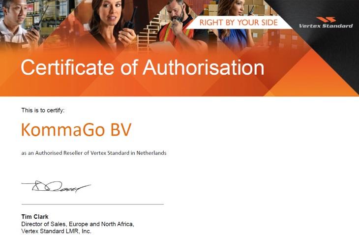 KommaGo is gecertificeerd reseller van Vertex Standard producten