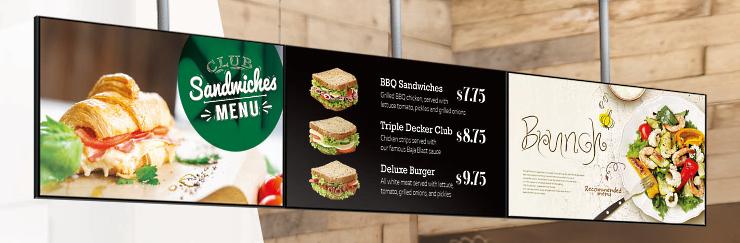 Digital signage menukaart in restaurant of café